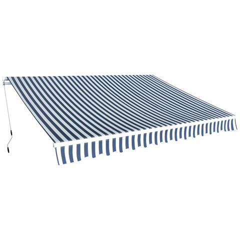 Tenda Da Sole Pieghevole Manuale 350 Cm Blu / bianca