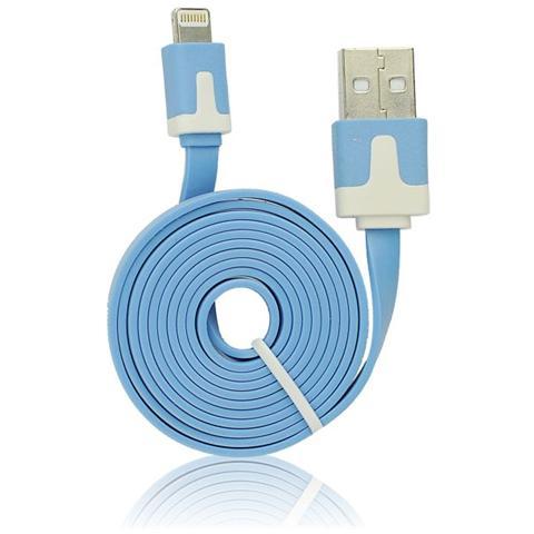 P.t.h.Gsm Usb Flat Cavo Iphone 5/5c / 5s / 6/6 Plus / ipad Mini Azzurro Ios9 Compatibile
