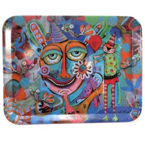 Vassoio Piccolo 'allen Designs' Multicolore (festa) - 24x18 Cm - [ p5693]