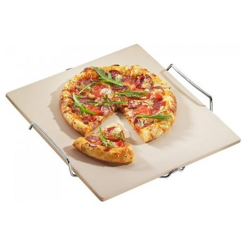 Piastra Pietra Refrattaria Da Forno Per Pizza 38 X 35,5 Cm Con Supporto In Metallo Kuchenprofi
