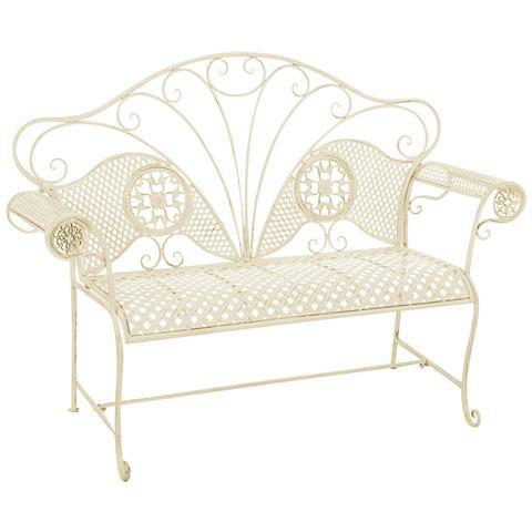 Panchina Da Giardino Stile Romantico Cp504 58x140x105cm Colore Avorio Antico