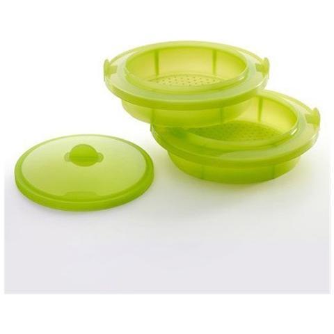 Lekué Vaporiera Per Cucinare A Vapore Lekuè In Silicone Platinum Colore Verde