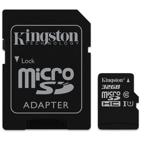 KINGSTON MicroSD da 32 GB Velocità UHS-I di Classe 10 fino a 80MB / s in lettura + Adattore SD