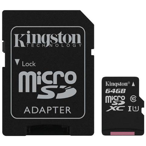 KINGSTON MicroSD da 64 GB Velocità UHS-I di Classe 10 fino a 80MB / s in lettura + Adattore SD