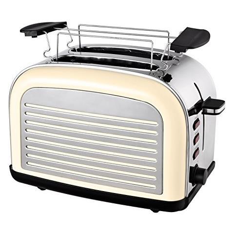 Retro Tostapane Con Scaldapane Per In Acciaio Inox E Funzione Di Scongelamento / riscaldamento, 1050w Crema