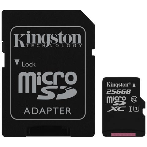KINGSTON MicroSD da 256 GB Velocità UHS-I di Classe 10 fino a 80MB / s in lettura + Adattore SD