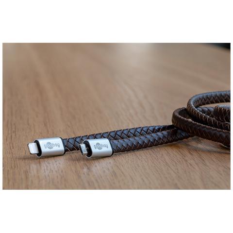 WENTRONIC 44181, USB-A, Lightning, Maschio / maschio, Nero, Marrone, Argento, Pelle, CE, WEEE