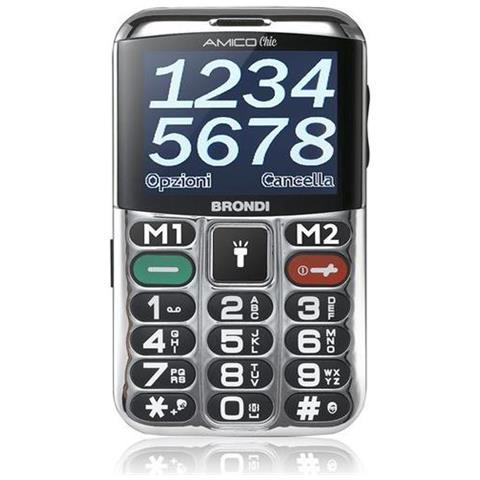 """BRONDI Amico Chic Senior Phone Dual Sim Display 2,4"""" + Slot MicroSD Fotocamera Tasti Grandi e SOS Colore Nero - Italia"""