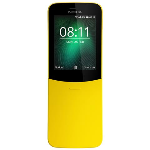 "NOKIA 8110 Dual Sim Giallo Display 2.4"" 4G Fotocamera 2 Mpx KaiOS-Tim Italia"