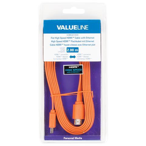 VALUELINE VLMB34010O20, HDMI, HDMI, Maschio, Maschio, Arancione, Cloruro di polivinile (PVC)