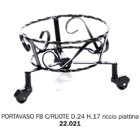 Porta Vaso Ferro Battuto Con Ruote D24 H17 Riccio Piattina