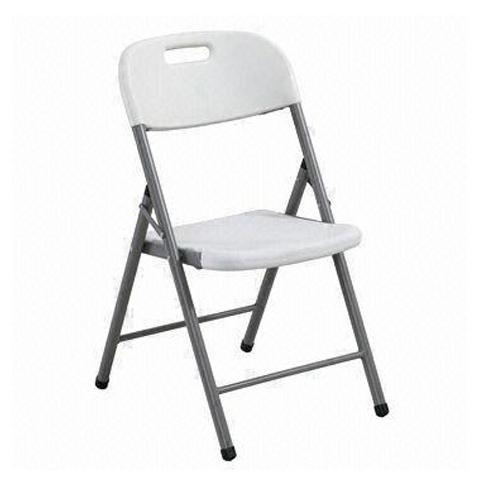 Sedia per Esterno Pieghevole in PVC Bianco Set 4 Pezzi