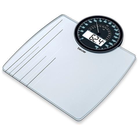 BEURER Pesapersone in Vetro con Dual Display Portata massima 180 kg Colore Bianco e Argento
