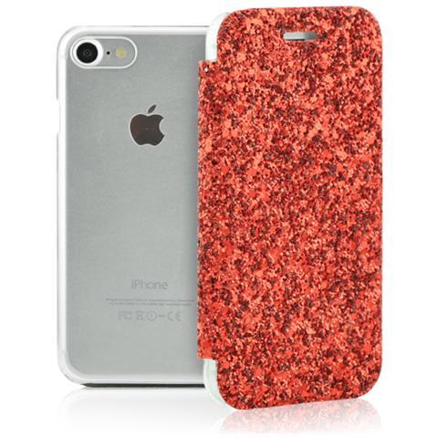 FONEX Book Glitter Custodia a Libro con Scocca Trasparente Copertina Glitterata e Portatessere per iPhone 7 Colore Rosso