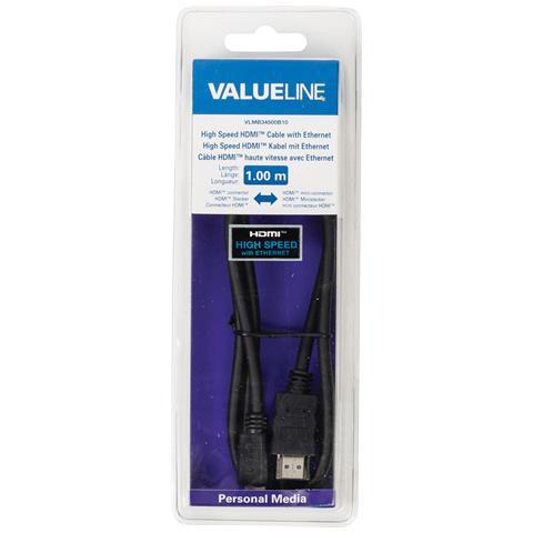 VALUELINE VLMB34500B10, HDMI, Mini-HDMI, Maschio, Maschio, Nero, Cloruro di polivinile (PVC)