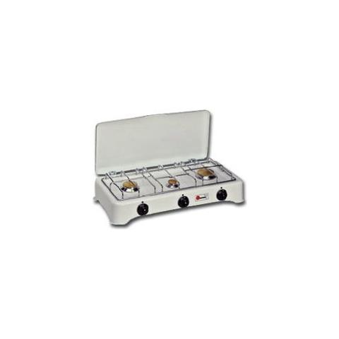 PARKER Fornello a Gas portatile 5327CGP con 3 Fuochi Colore Bianco