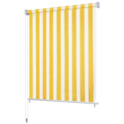 Tenda A Rullo Per Esterni 180x140 Cm A Strisce Giallo E Bianco