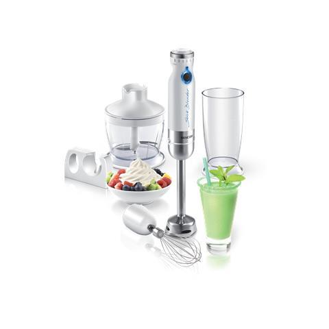 Frullatore ad Immersione con Recipiente da 800 ml Potenza 800 Wat Colore Bianco