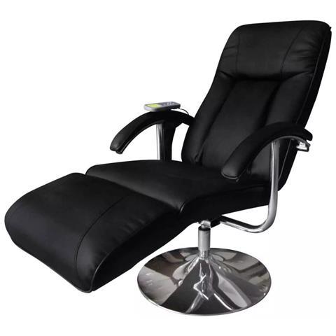 vidaXL Poltrona Relax Massaggiante Reclinabile Elettrica Nera