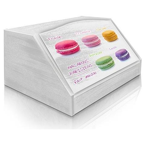 Lupia Portapane Con Decoro In 'macarons' In Legno White Dalle Dimensioni Di 30x40x20 Cm