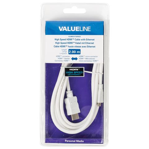 VALUELINE VLMB34700W20, HDMI, Micro-HDMI, Maschio, Maschio, Bianco, Cloruro di polivinile (PVC)