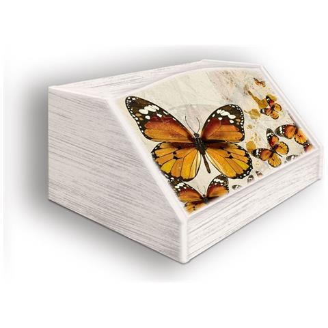 Lupia Portapane Con Decoro In 'farfalle' In Legno Shabby Dalle Dimensioni Di 30x40x20 Cm