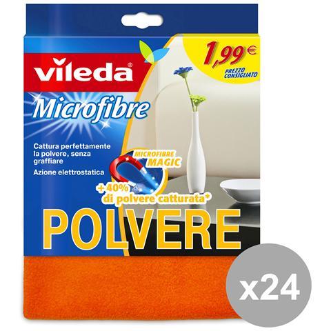 Vileda Set 24 Panno Polvere Microfibra Flash 1.99 Attrezzi Pulizie