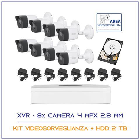 Image of Kit Videosorveglianza 8 Telecamere 5 Mpx 2.8mm P2p Hdd 2 Tb