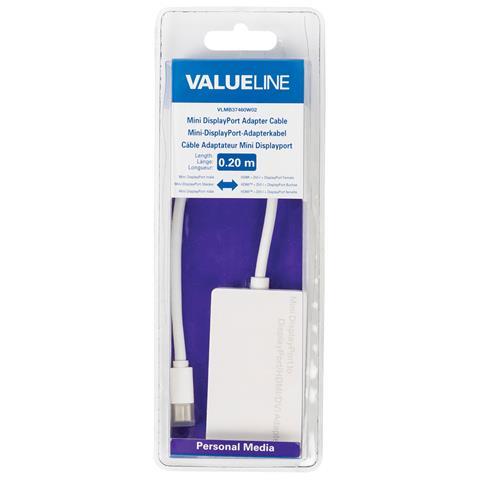 VALUELINE VLMB37460W02, Mini DisplayPort, HDMI + DVI-I + DisplayPort, Maschio / femmina, Bianco