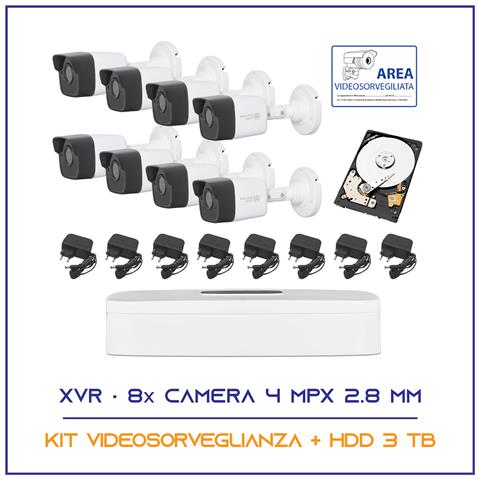Image of Kit Videosorveglianza 8 Telecamere 5 Mpx 2.8mm P2p Hdd 3 Tb