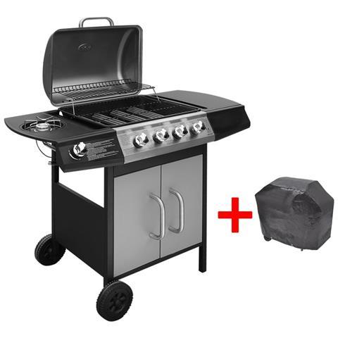 Barbecue E Griglia A Gas 4+1 Fuochi Nero Argento