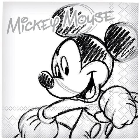 Confezione 20 Tovaglioli Mickey Black And White Taglia Unica