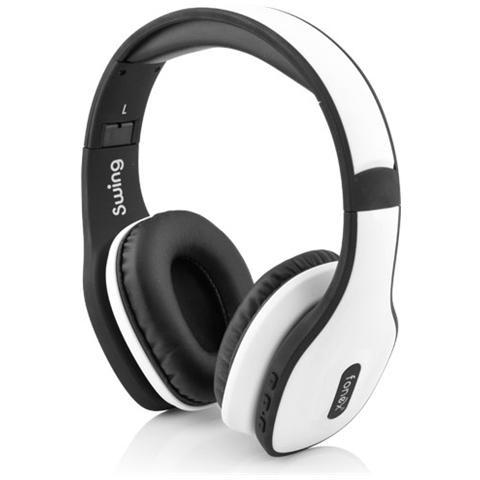 FONEX Cuffie Swing Stereo Bluetooth dotate di Cavo Jack 3.5mm - Bianco