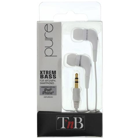 """T'NB Pure, Stereofonico, Interno orecchio, Bianco, Cablato, Universale, 3.5 mm (1/8"""")"""