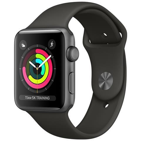 APPLE Watch Serie 3 con GPS e Cassa da 38 mm in Alluminio Colore Grigio Siderale e Cinturino Sport Grigio