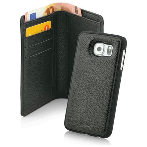 FONEX Wallet Magnetic Detachable Custodia 2 in 1 per Galaxy S6 Edge Colore Nero