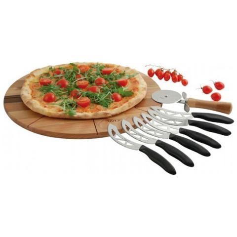 WD lifestyle Tagliere In Legno Tondo Per Pizza 40,5cm Con Rotella Tagliapizza E 6 Coltelli Wd 016