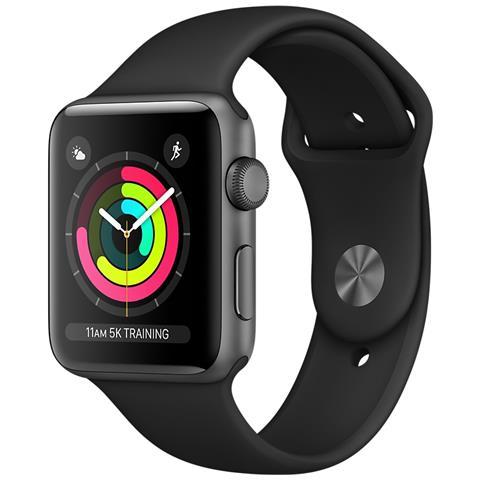 APPLE Watch Serie 3 con GPS e Cassa da 42 mm in Alluminio Colore Grigio Siderale e Cinturino Sport Nero