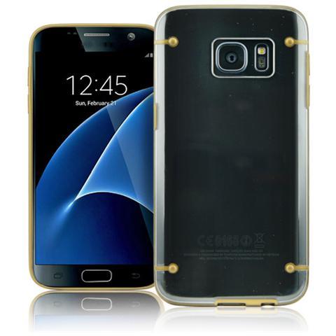 FONEX Mellow Cover in Morbido TPU per Galaxy S7 Colore Trasparente / Oro