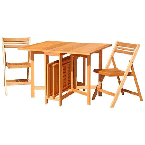 Set tavolo per esterno in legno di eucalypto 4 sedie con tavolo