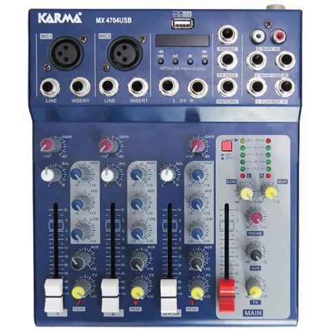 KARMA Italiana MX 4704USB 4canali Blu mixer audio