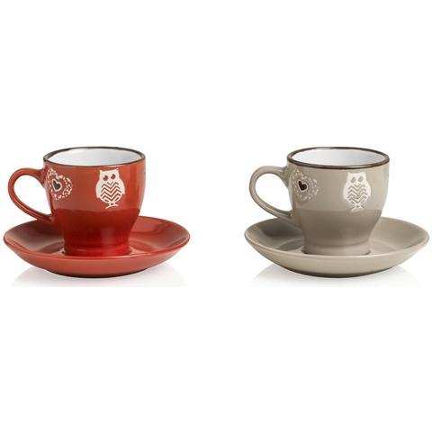 Tazzina Caffè Incanto Rosso Tortora set 2 pezzi Stoneware