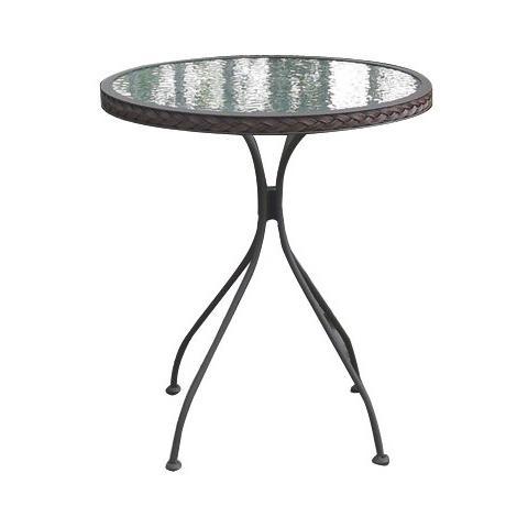 Tavolo tondo per esterni giardino con ripiano in vetro mod. Bistro