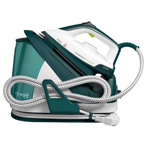 AEG Ferro da Stiro con Caldaia CompactPower Potenza 2400 Watt 5 Bar Colore Bianco / Verde