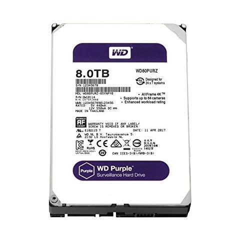 WD Purple 8 TB 3,5'' Interfaccia Sata III 6 GB / s Buffer 128 MB 5400 Rpm