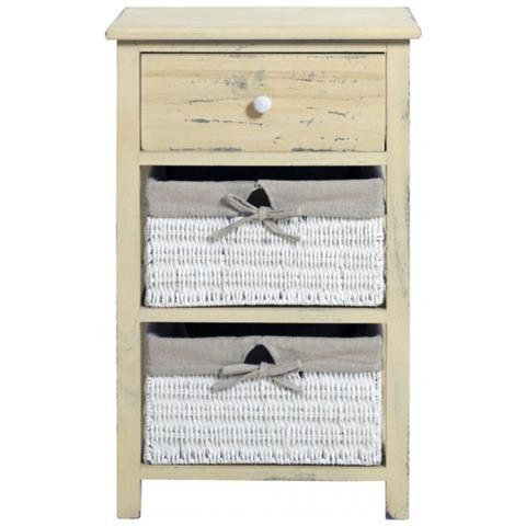 Cassettiera Con Cassetti In Vimini.Mobili Rebecca Comodini Cassettiera Country Beige Bianco 1