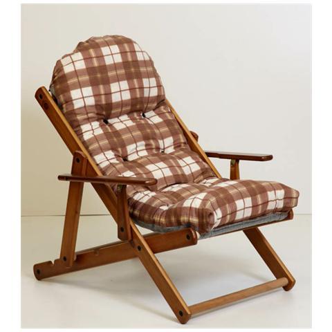 MASLEGNO Poltrona relax cuscino imbottito sdraio sedia da giardino 3 posizioni sofà