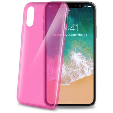 CELLY Cover in Gomma per Iphone X Colore Rosa
