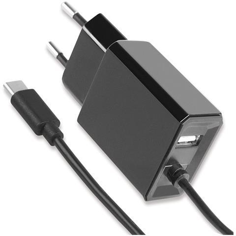 FONTASTIC IPW-USB-MICRO-235 - Caricatore USB-C con uscita USB A e Spina Europea 2 pin Nero
