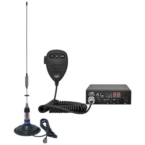 Kit Radio Cb Escort Hp 8000l Asq + Antenna Cb Ml70 Con Base Magnetica 145mm